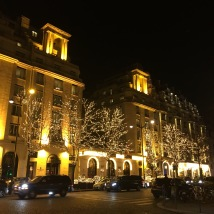 Our hotel, all lit up for Christmas.